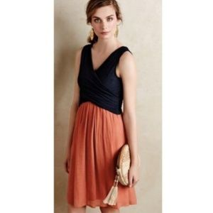 Anthropologie Amadi Lola Wrap Navy Pink Dress